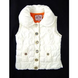 JUICY COUTURE Quilted Down Puffer Vest Ivory SMALL